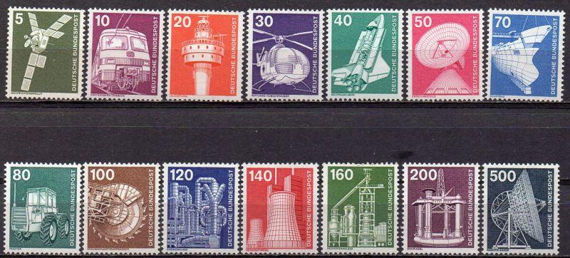 BRD, Mi-Nr. 846 - 859 **, kompl., DS Deutsche Industrie und Technik