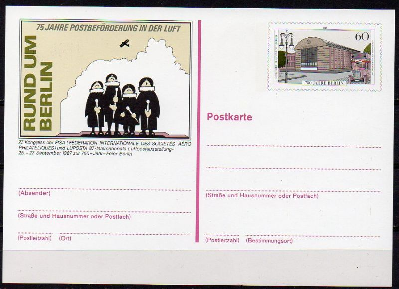 Berlin, Sonderpostkarte Mi-Nr. P 127 **, Luposta 87