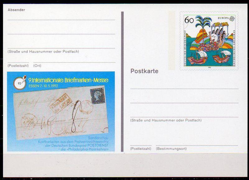 Bund, Sonderpostkarte Mi-Nr. PSO 27 **, BM-Messe Essen 1992
