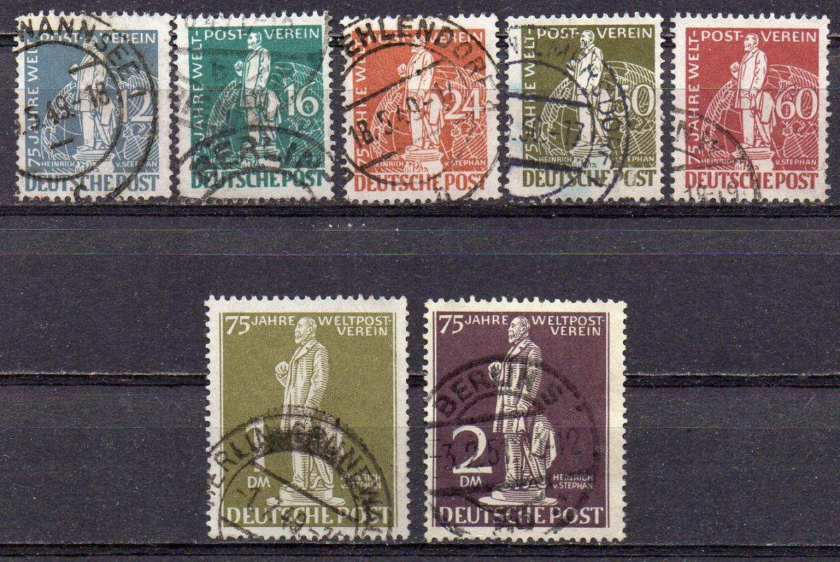 Berlin, Mi-Nr. 35 - 41 gest., kompl., 75 Jahre Weltpostverein (UPU)