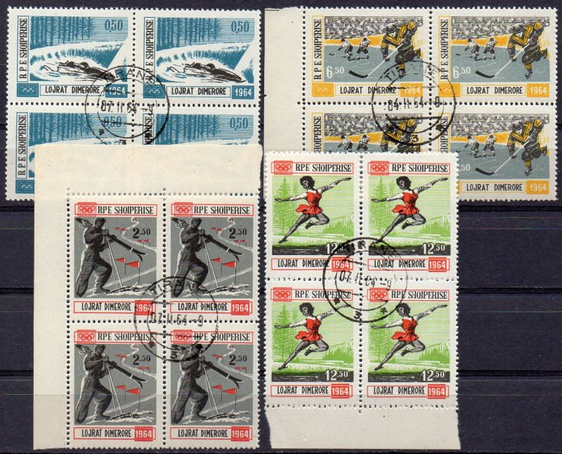 Albanien, Mi-Nr. 793 - 795 gest., kompl. im 4´er-Block, Olympische Winterspiele 1964 Innsbruck