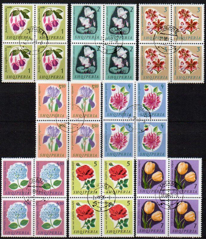 Albanien, Mi-Nr. 959 - 966 gest., kompl. im 4´er-Block, Blumen