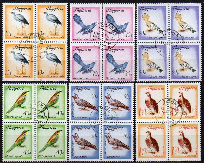 Albanien, Mi-Nr. 973 - 978 gest., kompl. im 4´er-Block, Zugvögel