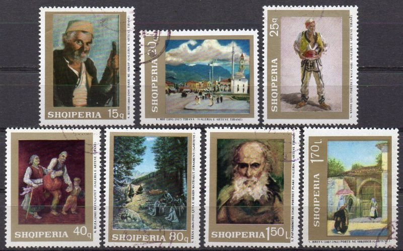 Albanien, Mi-Nr. 1287 - 1293 gest., kompl., Gemälde albanischer Maler