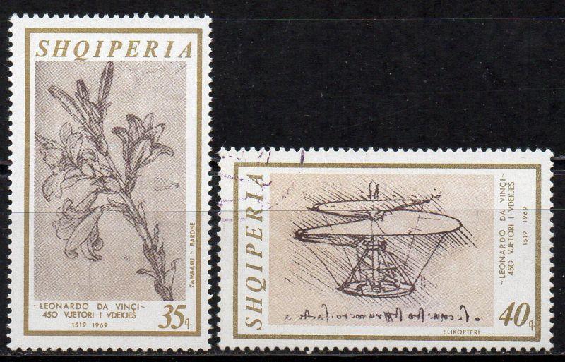 Albanien, Mi-Nr. 347 ** + 1348 gest., 450. Todestag von Leonardo da Vinci