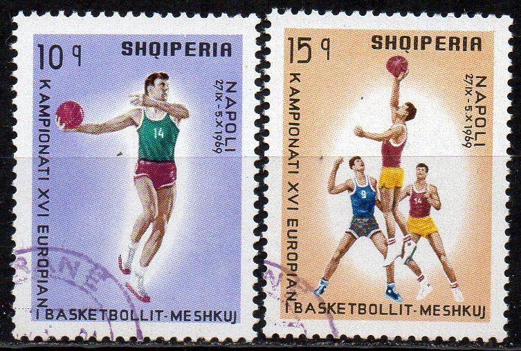 Albanien, Mi-Nr. 1368 + 1369 gest., Basketball - Europameisterschaft