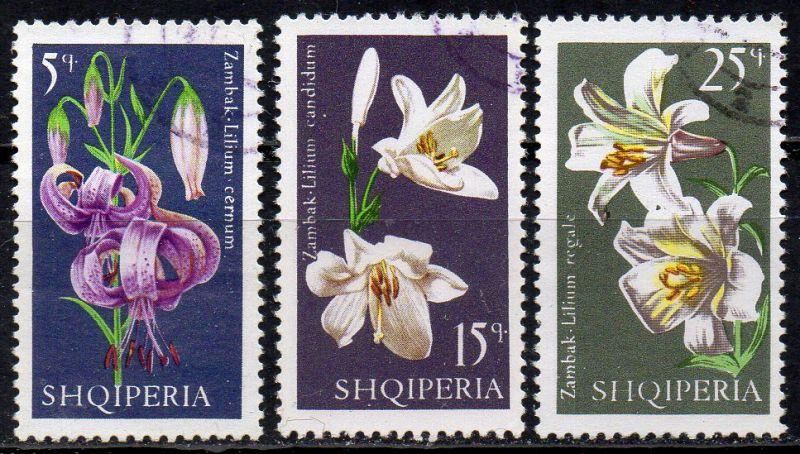 Albanien, Mi-Nr. 1405, 1406 + 1407 gest., Lilien 0