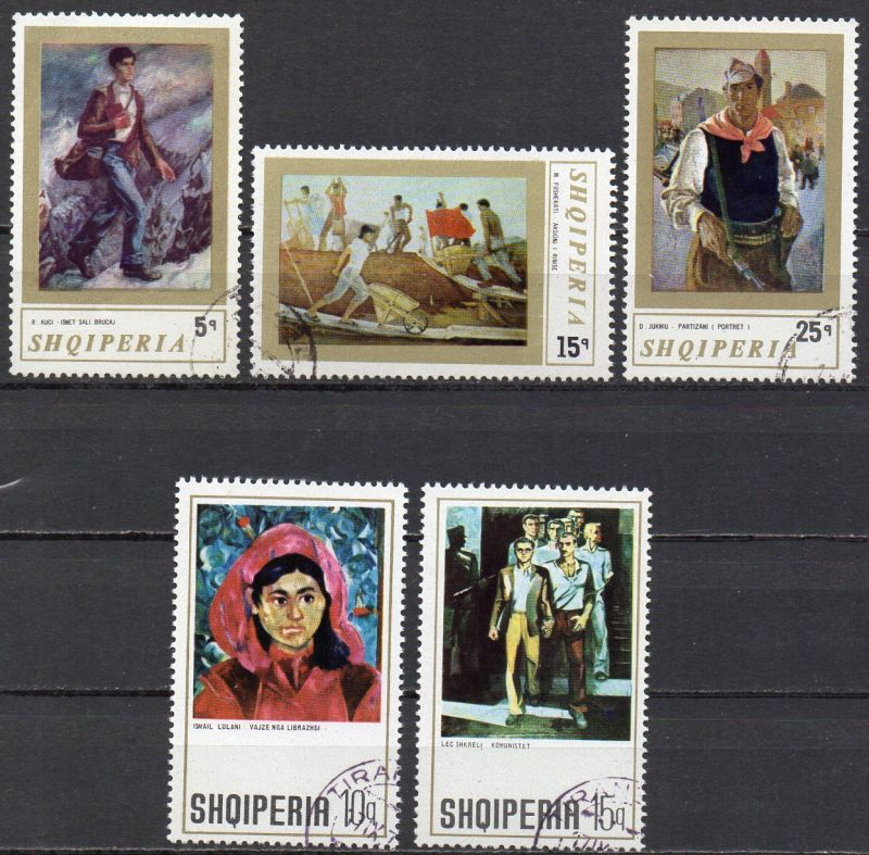 Albanien, Mi-Nr. 1513, 1514, 1515, 1583 + 1584 gest., Gemälde 0