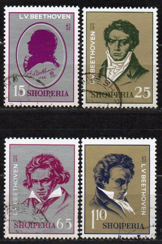 Albanien, Mi-Nr. 1456, 1457, 1458 + 1459 gest., 200. Geburtstag von Ludwig van Beethoven