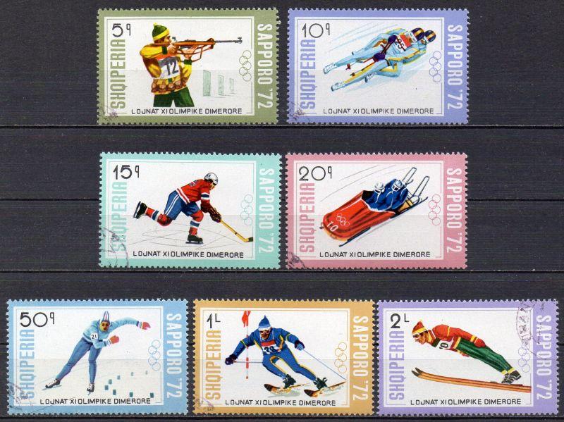 Albanien, Mi-Nr. 1527 - 1533 gest., kompl., Olympische Winterspiele 1972 Sapporo 0