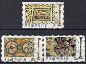 Albanien, Mi-Nr. 1682, 1683 + 1684 gest., antike Mosaiken