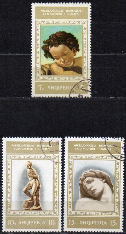 Albanien, Mi-Nr. 1765, 1766 +1767 gest., 500. Geburtstag von Michelangelo 0