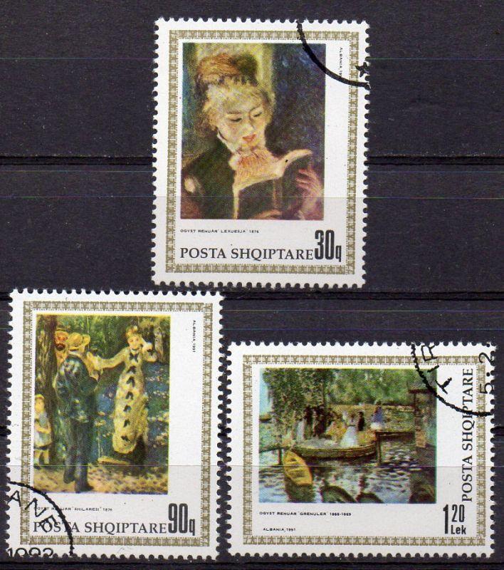 Albanien, Mi-Nr. 2466, 2467 + 2468 gest., 150. Geburtstag von Renoir - Gemälde