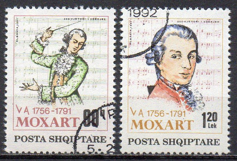 Albanien, Mi-Nr. 2477 + 2478 gest., 200. Todestag von Wolfgang Amadeus Mozart