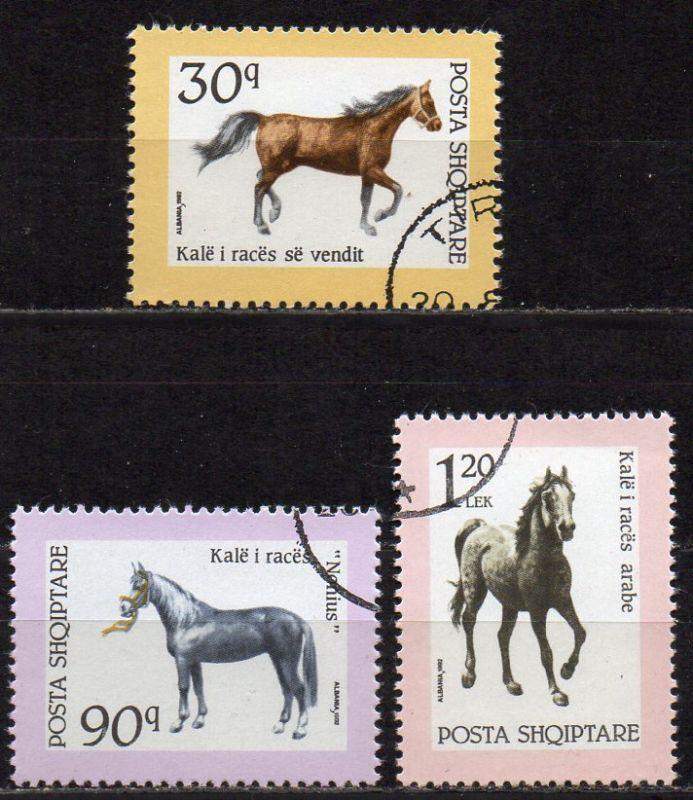 Albanien, Mi-Nr. 2506, 2507 + 2508 gest., Pferde