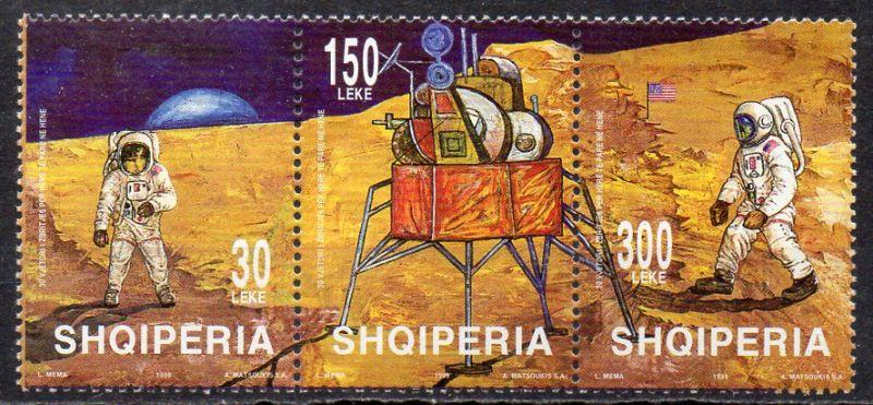 Albanien, Mi-Nr. 2702 - 2704 **, kompl. im 3´er-Streifen, 30 Jahre erste bemannte Mondlandung