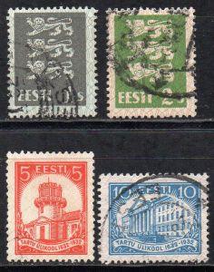 Estland, Mi-Nr. 74, 75, 94 + 95 gest.,