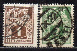 Estland, Mi-Nr. 33 A + 34 A gest.,