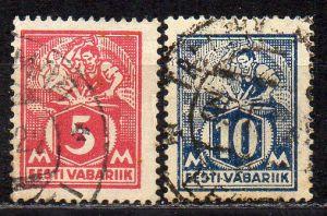 Estland, Mi-Nr. 37 A + 39 A gest.,