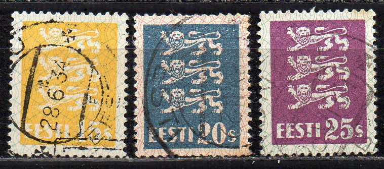 Estland, Mi-Nr. 81, 82 + 83 gest.,
