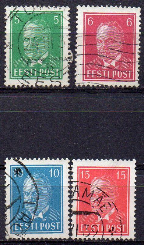 Estland, Mi-Nr. 115, 116, 117 + 125 gest., Staatspräsident Päts