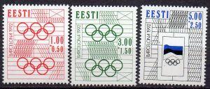 Estland, Mi-Nr. 180 - 182 **, kompl., Olympische Sommerspiele Barcelona 1992