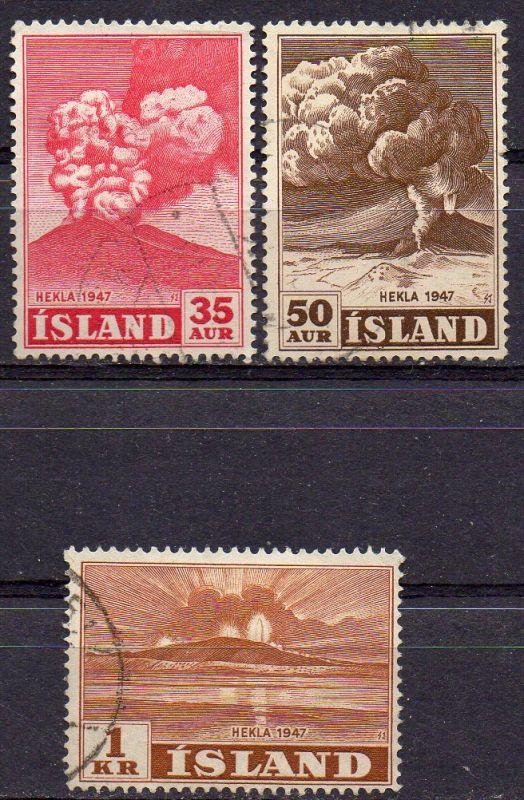 Island, Mi-Nr. 249, 250 + 252 gest., Ausbruch des Vulkans Hekla in 1947