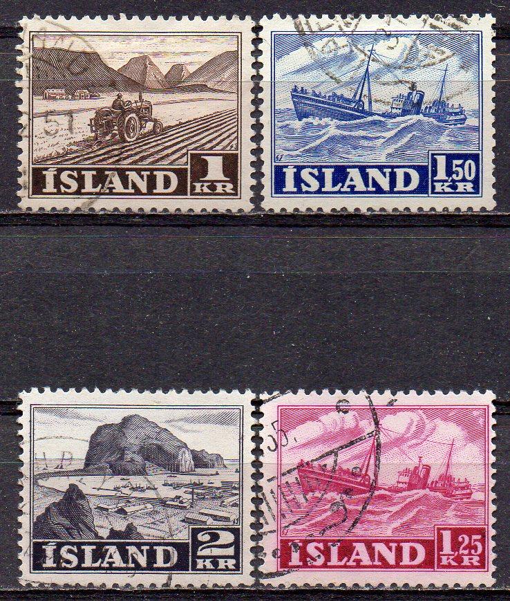 Island, Mi-Nr. 267 + 268 gest., Fischerei + Landwirtschaft