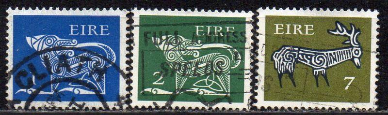 Irland, Mi-Nr. 251 ZA, 253 ZA + 299 ZA gest., Frühe Irische Kunst