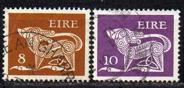 Irland, Mi-Nr. 346 + 358 gest., Frühe Irische Kunst