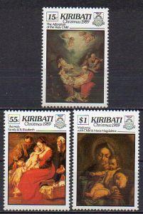 Kiribati, Mi-Nr. 537, 538 + 539 **, Weihnachten 1989