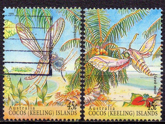 Kokos - Inseln, Mi-Nr. 335 + 336 gest., Insekten