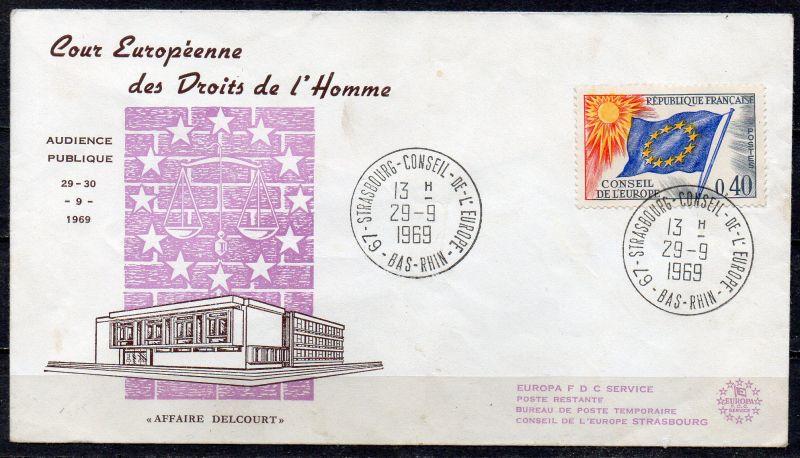 Frankreich, Dienstmarke für den Europarat Mi-Nr. 13 gest. auf Sonderbriefumschlag