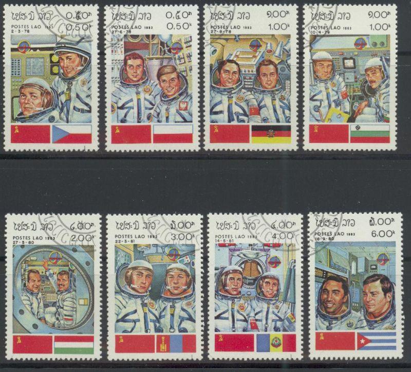 Laos, Mi-Nr. 638 u. a. gest., Raumfahrt - Kosmonauten