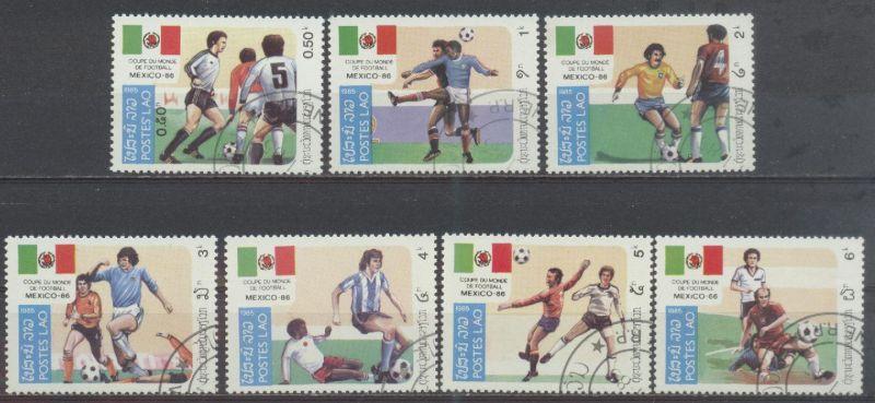 Laos, Mi-Nr. 9813 - 819 gest., kompl., Fußballweltmeisterschaft 1986 in Mexiko