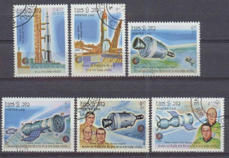 Laos, Mi-Nr. 851 u. a. gest., 10. Jahrestag des gemeinsamen Apollo-Sojus-Raumfluges