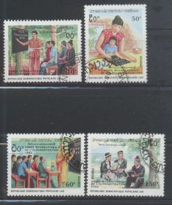 Laos, Mi-Nr. 1189 - 1192 gest., kompl., Internationales Jahr der Alphabetisierung