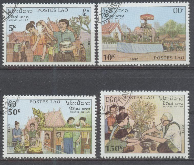 Laos, Mi-Nr. 1236 - 1239 gest., kompl., Laotische Neujahrsbräuche