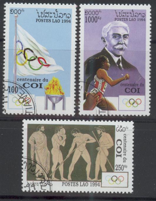 Laos, Mi-Nr. 1396 - 1398 gest., kompl., 100 Jahre Internationales Olympisches Kommitee (IOC)