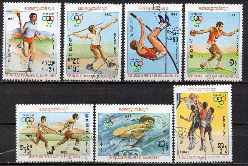 Kambodscha, Mi-Nr. 454 - 460 gest., kompl., Olympische Sommerspiele 1984 Los Angeles