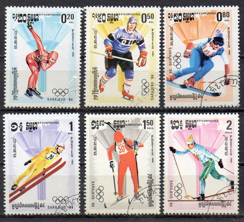 Kambodscha, Mi-Nr. 538 u. a. gest., Olympische Winterspiele 1984 Sarajevo
