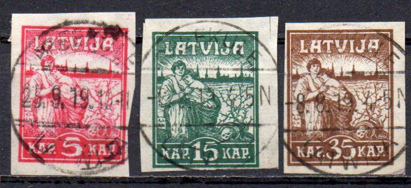 Lettland, Mi-Nr. 25 x - 27 x gest., kompl., Befreiung von Riga