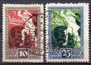 Lettland, Mi-Nr. 36 + 37 gest., Befreiung von Kurland und Semgallen