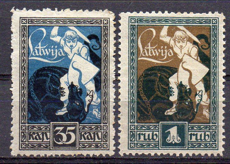 Lettland, Mi-Nr. 38 + 39 *, Befreiung von Kurland und Semgallen