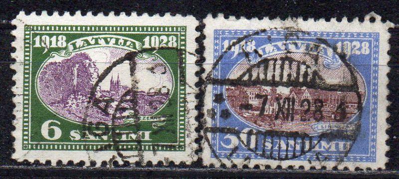 Lettland, Mi-Nr. 132 + 135 gest., 10. Jahrestag der Staatsgründung