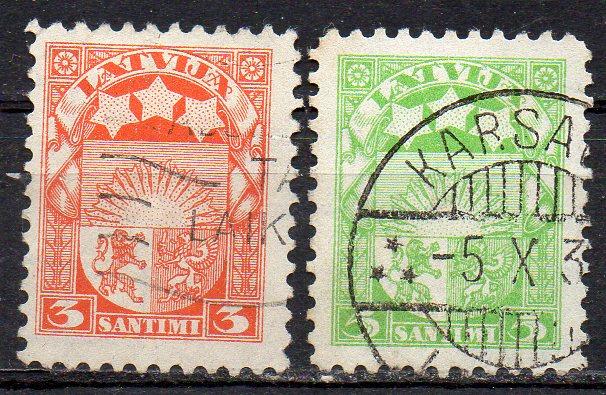 Lettland, Mi-Nr. 171 + 172 gest., Staatswappen