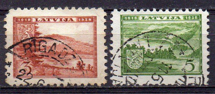 Lettland, Mi-Nr. 264 + 265 gest., 20. Jahrestag der Staatsgründung
