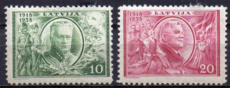 Lettland, Mi-Nr. 266 + 267 *, 20. Jahrestag der Staatsgründung