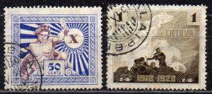 Litauen, Mi-Nr. 285 + 287 gest., 10 Jahre Unabhängigkeit