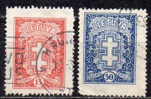 Litauen, Mi-Nr. 289 + 290 gest., Schützenkreuz